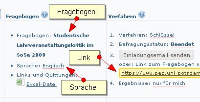 Fragebogen- und Sprachauswahl